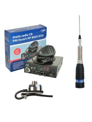 Kit Statie radio CB PNI ESCORT HP 8024 ASQ + Antena CB PNI ML160 cu Suport T941