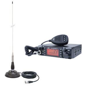 HP 9001 PRO ASQ reglabil, AM-FM, 12V, 4W + Antena CB PNI ML100