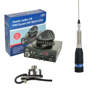 Kit Statie radio CB PNI ESCORT HP 8024 ASQ + Antena CB PNI ML160 cu Suport T941
